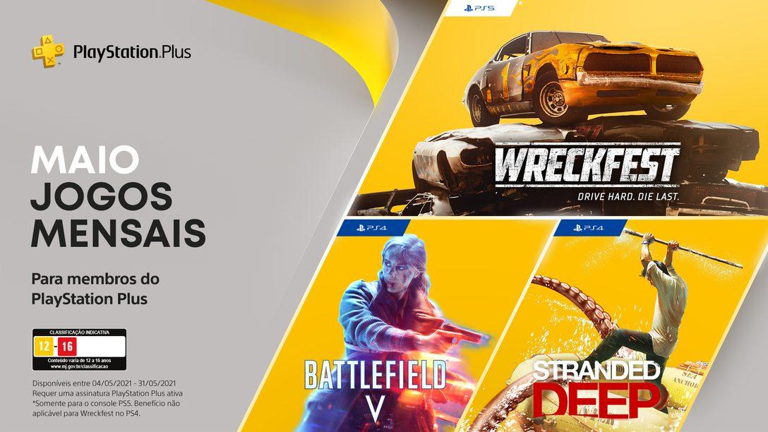 PS Plus   Maio conta com Battlefield V, Stranded Deep e Wreckfest: Drive Hard